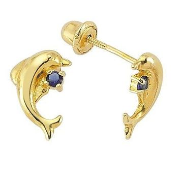 14K Yellow Gold Birthstone Dolphin CZ Stud with Screw-back for Baby & Children