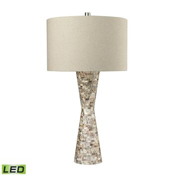 D2607-LED Mother of Pearl Waisted LED Table Lamp With Sand Linen Shade