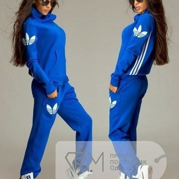 Adidas Fashion Sport Gym Set Two-Piece Coat Pants Sportswear