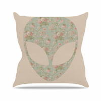 "Alias ""Floral Alien"" Pink Teal Outdoor Throw Pillow"