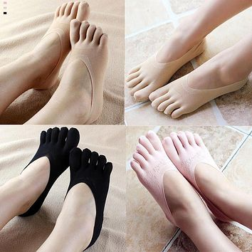 Hot Fashion Five Finger Toe Sock Women Slippers Invisibility Socks Low Cut Solid Socks Breathable Footsies No show Socks