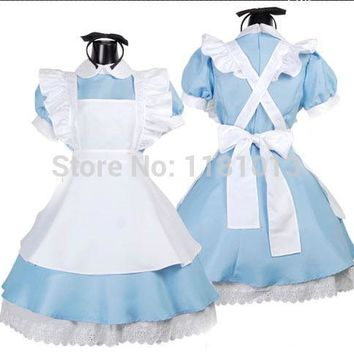 Japanese girl K-ON lolita cosplay maid outfit Blue / Black / Pink Dress