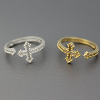 Adjustable Sideways Cross Wrap Ring - ( Silver, Gold, Pink Gold), 925 Sterling Silver also available