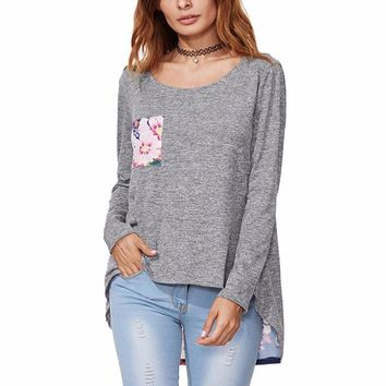 Women's Gray High/Low Gray Long Sleeve T-Shirt Top with Floral Pocket and Back Detail