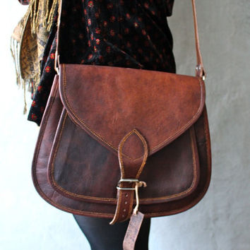 16x12 Large Leather Purse Bag / Messenger / Cross body / Purse / Brown Tote Large
