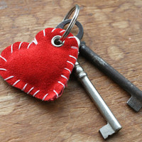 Upcycled Red Suede Heart Keychain, Red Heart Keychain, Suede Keychain, Leather Keychain