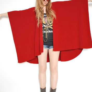 vintage 80s oxblood red wool blend draped poncho cape sweater coat jacket poncho