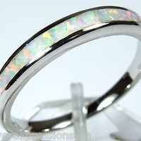 White Fire Opal Inlay 925 Sterling Silver Band Ring size 6, 7, 8, 9
