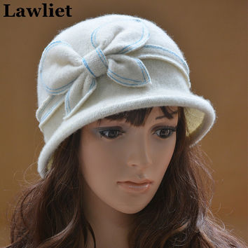 A286 Womens GATSBY 1920s Winter Wool Cap Beret Beanie Cloche Bucket Floral Hat