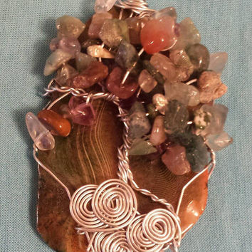 Agate Slice Tree with Moss Agate chip beads / Wire Art Sun Catcher or Christmas Ornament