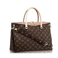 LV Authentic Louis Vuitton Monogram Canvas Pallas Handbag Dune Article: M50066 Made in France