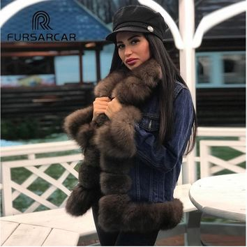 FURSARCAR Winter Women Real Fox Fur Whole Skin Genuine Leather Female Jacket 2018 NEW Thick Natural Fox Parka Fur Coat