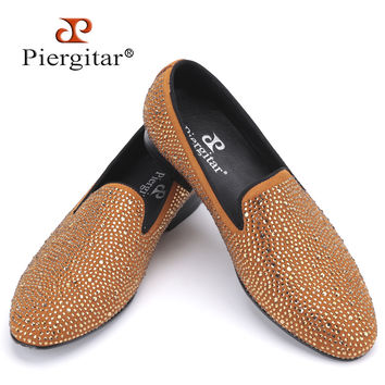 New Luxury full rhinestone handmade men loafers wedding and party men shoes smoking slipper men's flats