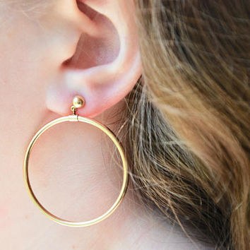 Vintage Royalty Dangle Hoop Pierced Earrings 14K Gold Filled Posts Statement Earrings Mid Century Mod 1960's // Vintage Costume Jewelry