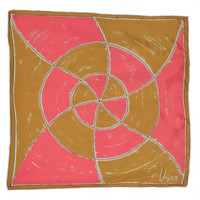"""Vintage 70s Vera Neumann Pink and Gold Swirl Scarf 1970s Mod Abstract Pinwheel Rolled Edges 27"""" x 26"""" Vera Scarves Ladies Accessory"""