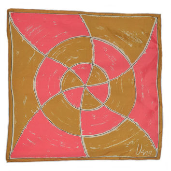 "Vintage 70s Vera Neumann Pink and Gold Swirl Scarf 1970s Mod Abstract Pinwheel Rolled Edges 27"" x 26"" Vera Scarves Ladies Accessory"