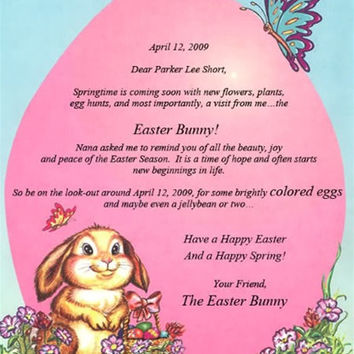 Letter from The Easter Bunny, Peter Rabbit, Personalized mail