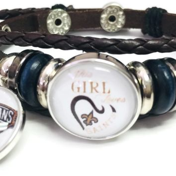 NFL New Orleans This Girl Loves The Saints Logo Bracelet Football Fan Brown Leather W/2 18MM - 20MM Snap Charms New Item