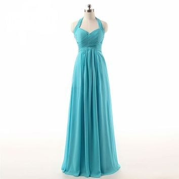 Women Dress New Arrive Spring Gown A-line Halter Chiffon Long Sexy Evening Dresses