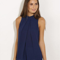 Dark Blue Sleeveless Chiffon Shirt with Back Button