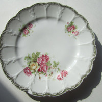Vintage plates Beautiful dishes houseware tea party dishes pink yellow roses scallop edge plates design vintage plate set rose dishes