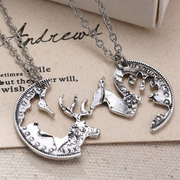 Steampunk Silver Tone Deer Necklace Crystal Pendant Jewelry Gift Chain Couple 2p [10794329095]