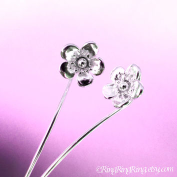 Long Stem Butter Cup Flower Earrings, Sterling Silver Dangle Earrings, Small Floral Jewelry For Her