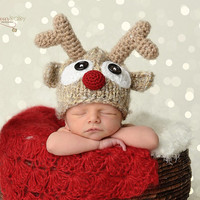 Newborn Photo Prop,Reindeer Hat,Baby Boy Hat,Baby Girl Hat,Baby Reindeer Hat,Christmas,Newborn Girl Hat,Newborn Boy Hat,Rudolf Reindeer Hat