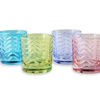 Mixed Double Old-Fashioned Glasses, Set of 4, Pastel