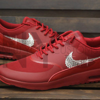 Blinged Womens Nike Air Max Thea Running Shoes Red Blinged Out With Swarovski Crystal Rhinestones