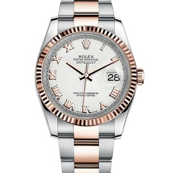 Rolex Datejust 36 Steel Rose Gold Watch White Dial Oyster 116231