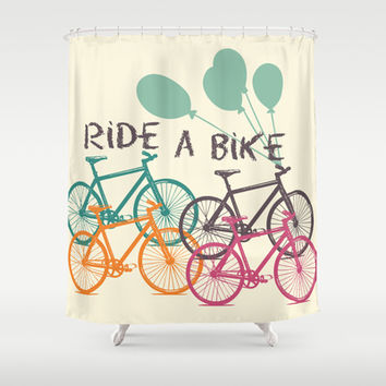 Ride a Bike Shower Curtain by Louise Machado
