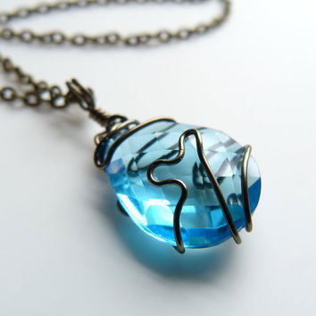 Wire Wrapped Swiss Blue Quartz Pendant Necklace
