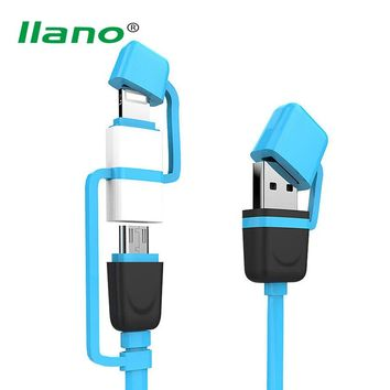 Micro USB Cable Charger For Samsung Galaxy S7 S5 Wire For iphone 5 6 charger charging Cable 2 in 1 Fast Quick Charge USB Cable