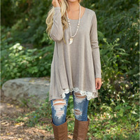 Gray Long Sleeve Laced Hem Top