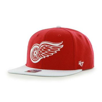 ONETOW NHL 47 Brand Detroit Red Wings Men's Sure Shot Two Tone Snapback
