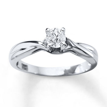 Diamond Solitaire Ring 3/8 Carat Round-cut 14K White Gold