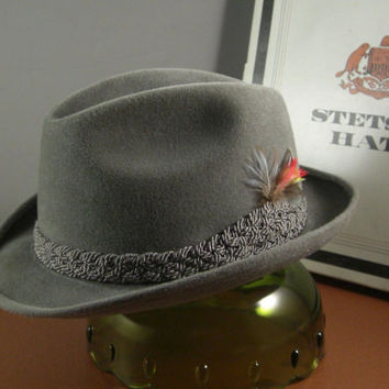 Mens Stetson Sovereign Gray Felt Fedora Hat // Size 7 1/8 // from Successionary