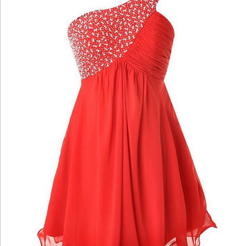 One-shoulder Beading Red Prom Dresses Homecoming Dress