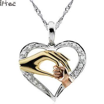 2017 Mom Necklace Baby Heart Pendant  Mother Daughter Son Child Family Love Cubic Zirconia Jewelry Moms Birthday Gift Box N127