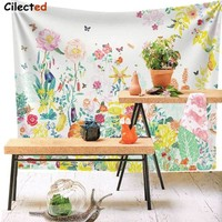 Cilected Succulent Meadow Flowers Landscape Wall Tapestry Floral Wall Decor Fabric Wallpaper Home Decor Twin Size