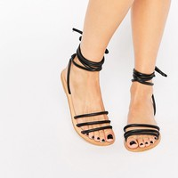 ASOS FELICITY Leather Tie Leg Sandals