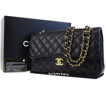 Auth CHANEL CC Matelasse Double Flap Quilted Chain Shoulder Bag Leather 309BC253