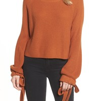 Trouve | Tie Sleeve Crop Sweater | Nordstrom Rack