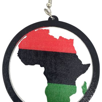 Pan-African Earrings | Africa shaped | African | Natural hair | Afrocentric | jewelry | accessory