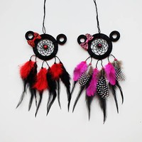 Set of 2 Mickey and Minnie Mouse Dreamcatcher, Mickey Mouse Accessory, Minnie Mouse Dreamcatcher, Disneyland, Disney Gifts, Disney, Gift