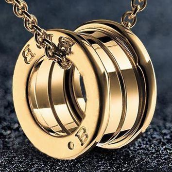 Baojia circular titanium steel stainless steel spring necklace pendant electroplate 18K rose gold necklace female