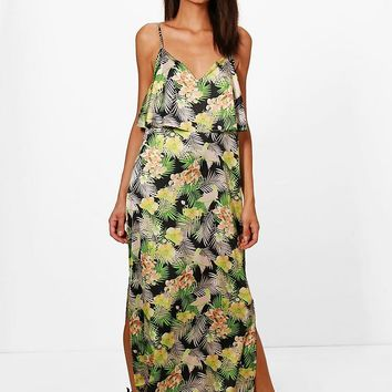 Hedda Tropical Double Layer Maxi Dress | Boohoo