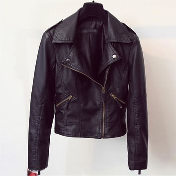 Womens Leather Motorcycle Jackets Large Size European and American Style Women Brand Chaqueta Motos Jackets Female Clothing C849