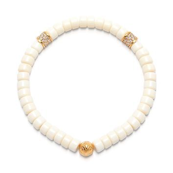Women's Wristband with White Coral and Gold